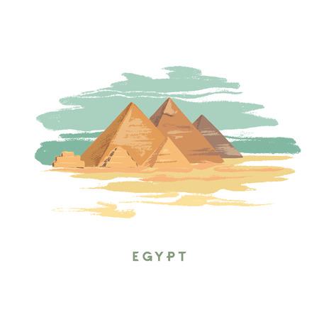 Pyramides d'illustration vectorielle dessinées à la main colorées de Gizeh, Egypte dessinées à la main sur fond blanc. Conception pour l'agence touristique.