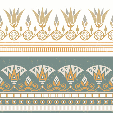Seamless vector illustration of Egyptian national ornament with a lotus flower on white background. Illustration