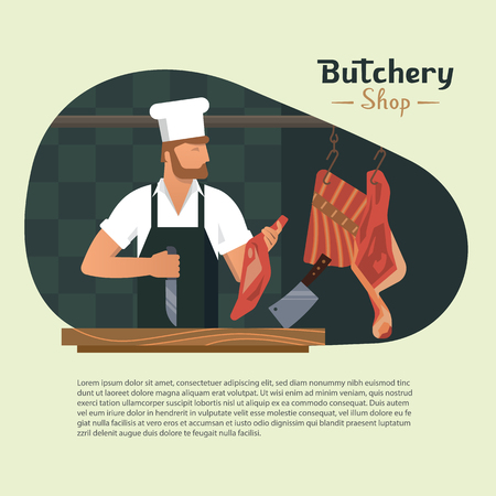 Vector illustration logo for a butchers shop with a bearded butchers at work with a book and a knife in his hands and meat in the background. With space for text.