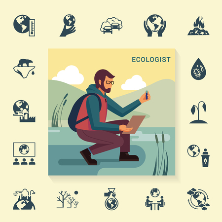 The design concept with the image of a bearded man in glasses and with a backpack ecologist in nature, who takes samples from the tank with a set of icons in a linear style on the theme of ecology. Illustration