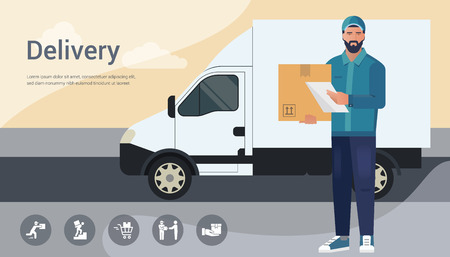 Vector design concept with illustration of a bearded courier man from a cargo delivery service on the background of a truck. There is a place for the title and text. Delivery banner design.