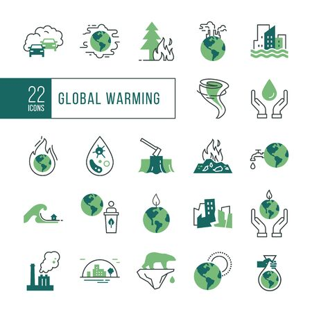 Colorful icon set of 22 pieces of vector icons isolated on a white background in a linear style on the theme of the effect of global pollution, bad ecology, problems of the planet.