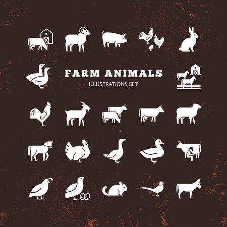 A large vector set of 22 farm and farm animal icons that are great for illustrations, infographics and logos of stores or other businesses. Icons isolated on white background.