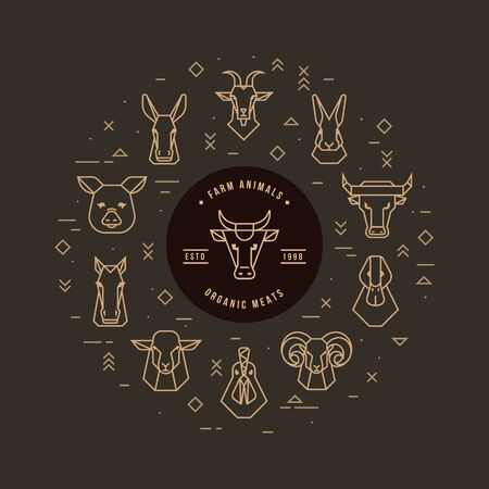 Circular vector set of heads of farm animals that are great for illustrations, infographics and logos of stores or other businesses. Icons isolated on a dark background. Stock Illustratie