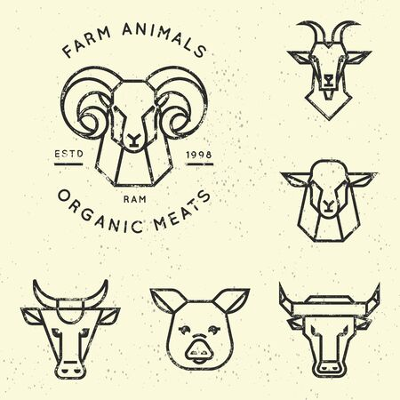 Reading linear icons of farm animals are perfect for printing as well as for use in logos. Vector collection of illustrations of farm animals icons in linear style isolated on background. Stock Illustratie
