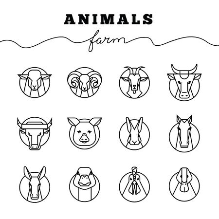 Vector collection of illustrations of farm animals icons in linear style isolated on white background. Reading linear icons of farm animals are perfect for printing as well as for use in logos.