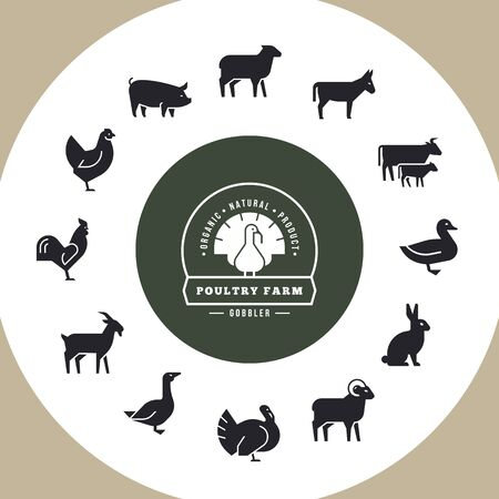 Circular vector icon set in a flat style of farm animals silhouettes. Circular concept of farm animals. With place for text. Icons isolated in white background.