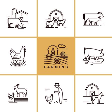 Vector set of farming and farm animals that are great for illustrations, infographics and logos of stores or other businesses. Icons isolated on white background. Ilustração