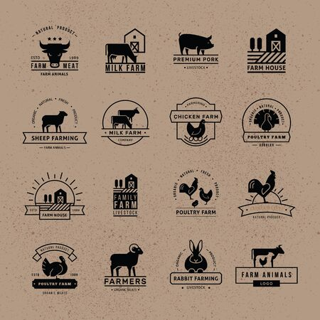 A large collection of vector logos for farmers, grocery stores and other industries. Isolated on old paper background and executed in a flat style.