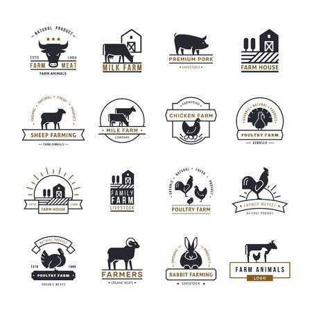 A large collection of vector logos for farmers, grocery stores and other industries. Isolated on white background and done in a flat style. Stock Illustratie