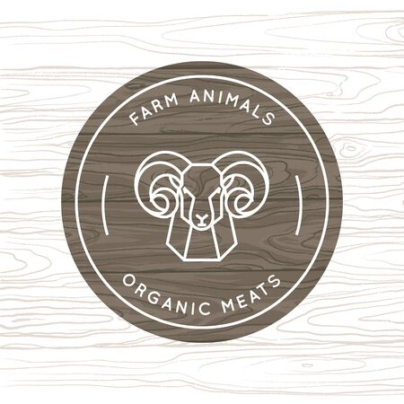 Organic meat or farming animal - vector logo made in a linear style. A ram drawn in a linear style for a farm logo on a background of vector wood texture.