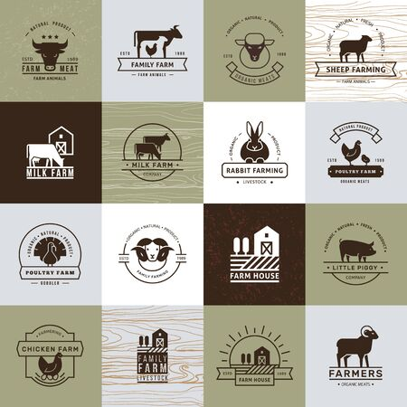 Een grote verzameling vectorlogo's voor boeren, supermarkten en andere industrieën. Geïsoleerd op oud papier achtergrond en uitgevoerd in een vlakke stijl. Logo