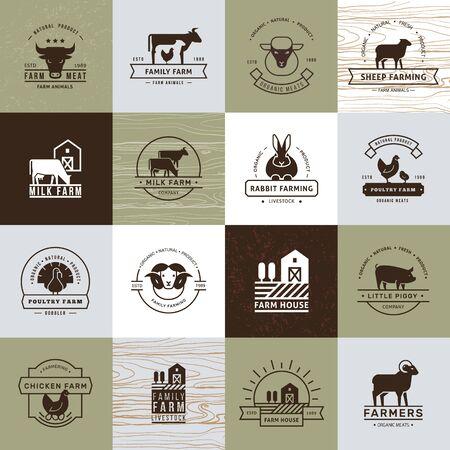 Eine große Sammlung von Vektorlogos für Landwirte, Lebensmittelgeschäfte und andere Branchen. Auf altem Papierhintergrund isoliert und in einem flachen Stil ausgeführt. Logo