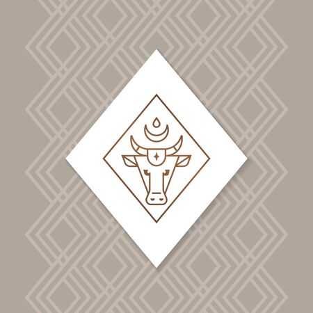 Bull or buffalo or calf vector logo isolated on a white background in a rhombus. With a diamond-shaped seamless pattern on the background.