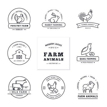 Branding-Farm. Set aus acht modernen Logos im linearen Stil mit Nutztieren mit Platz für Text oder Firmennamen. Getrennt auf hölzernem Vektorhintergrund.