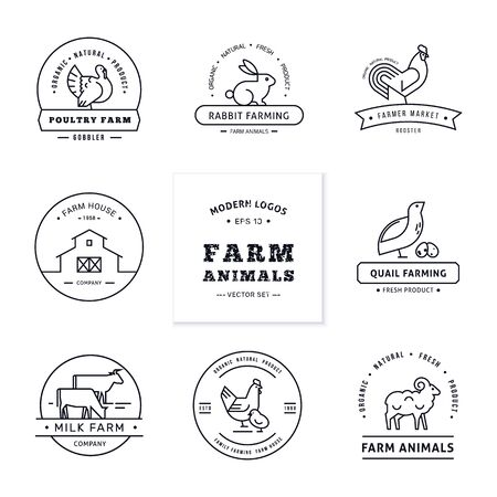 Znakowanie farmy. Zestaw ośmiu nowoczesnych logo w stylu liniowym ze zwierzętami hodowlanymi z miejscem na tekst lub nazwę firmy. Na białym tle na drewniane wektor tle.