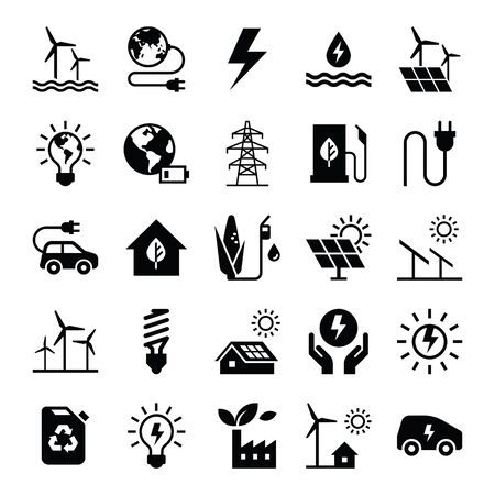 Monochrome illustrations of icons relating to the production and distribution of green energy, white background. Stock Illustratie