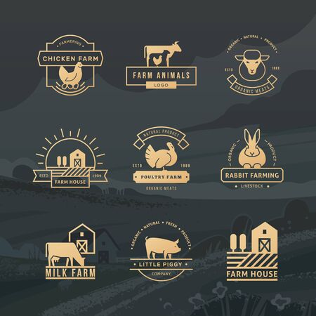 A large collection of vector logos for farmers, grocery stores and other industries. Isolated on a vector background drawn farm with fields, plants, and mountains.