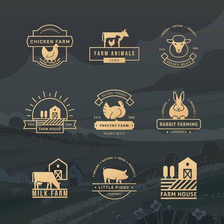 Eine große Sammlung von Vektorlogos für Landwirte, Lebensmittelgeschäfte und andere Branchen. Isoliert auf einem Vektor Hintergrund gezeichneter Bauernhof mit Feldern, Pflanzen und Bergen.