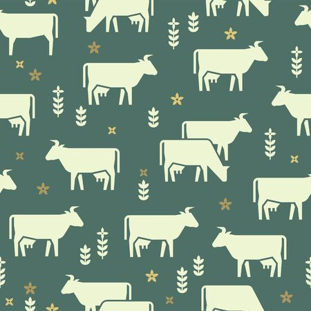 Seamless vector pattern of farm animals, buildings, equipment and other elements in black and white colors. Consists of vector flat icons.