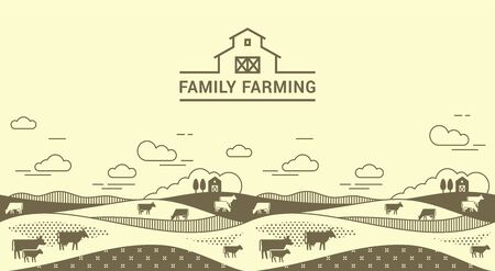Vector template, banner or first screen for a landing page with place for text, an illustration of a rural farm with agricultural equipment in a linear style. Yellow and black illustration.