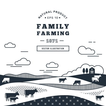 Vector illustration - horizontal seamless pattern family farm with a place for text and logo in black and white color. Text can also be removed.