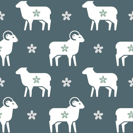Vector seamless pattern on the theme of farming, sleep and so on. It consists of sheep and rams with a variety of flowers. In flat style in pastel colors. Stock Illustratie