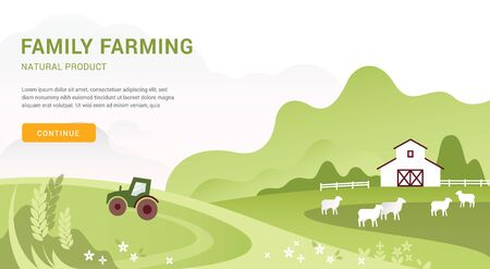 Vector template of a banner or first screen for a landing page with space for text, a call-to-action button and an illustration of a countryside farm with agricultural equipment. Stock Illustratie