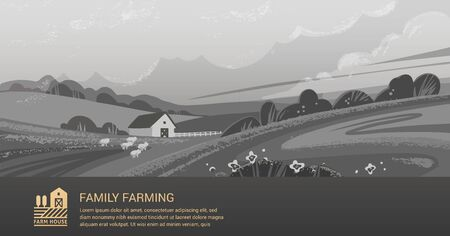Vector template, banner or first screen for a landing page with a place for text, an illustration of a rural farm with agricultural equipment. Black and white illustration with color logo and text. Stock Illustratie