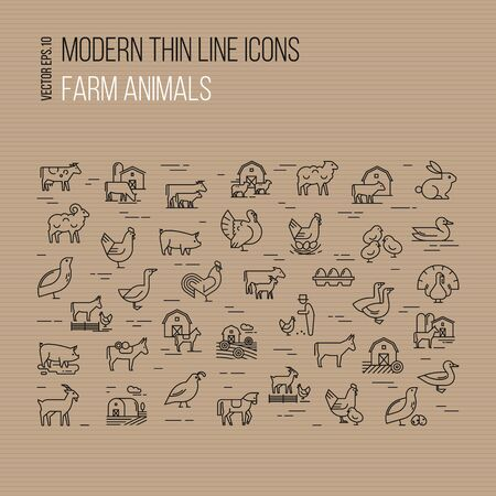 Modern thin line icons set of farm animals isolated on brown background.