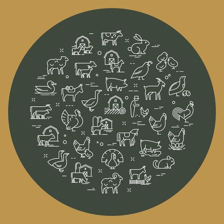 Circular vector set of farm animals that are great for illustrations, infographics, and logos of stores or other businesses. Icons isolated on dark rusty iron vector background.