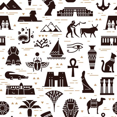 Dark seamless pattern of symbols, landmarks, and signs of Egypt from icons in a flat style. Ilustração