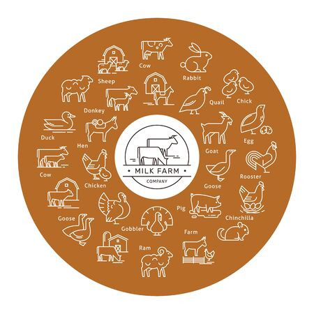 Circular vector icon set in a line style of farm animals silhouettes. Circular concept of farm animals. With place for text.