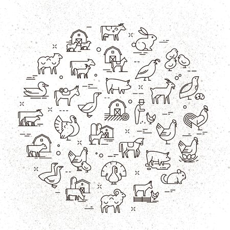 Duży okrągły wektor zestaw ikon zwierząt wiejskich w liniowym stylu dla logo, prezentacji i sieci. Ikony są izolowane na tle brudnego papieru.