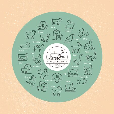 A large circular vector icon set of rural animals in a linear style for logos with an example of a logo for substituting various names and replacing the icon. Icons isolated on background.