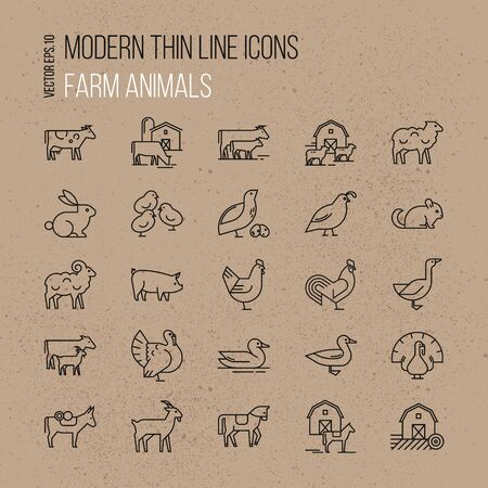 Vector set of farm animals icon set. Collection of illustrations in line style, well-drawn and isolated on brown background.