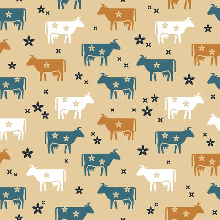 Cute seamless vector pattern of farm animals cows, flowers and other elements in various colors. It consists of icons in a flat style.