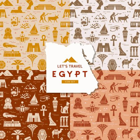 Set of four seamless patterns of symbols, landmarks, and signs of Egypt from icons in a flat style.