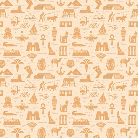 Bright seamless pattern of symbols, landmarks, and signs of Egypt from icons in a flat style. Stock Illustratie