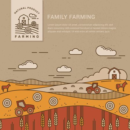 Vector illustration - horizontal seamless pattern family farm with a place for text and logo. Text can also be removed. Ilustração