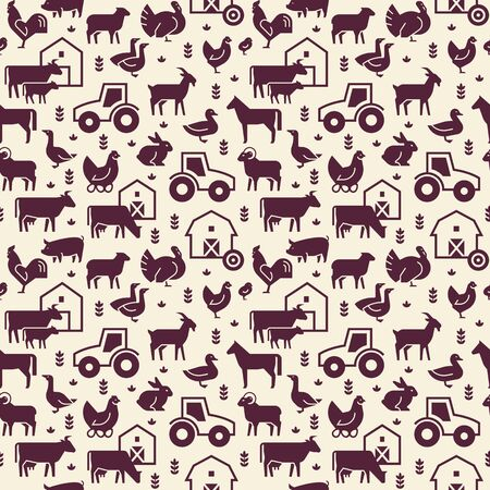 Seamless vector pattern of farm animals, buildings, equipment and other elements in two colors. Consists of vector flat icons.