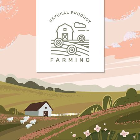 Vector template of a banner or first screen for a landing page with a logo and place for text and illustration of a rural farm with agricultural equipment.