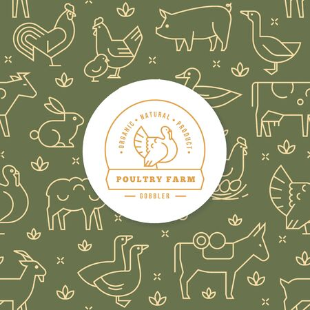 Logo with turkey and place for text on the background of a seamless pattern of various farm animals in green and yellow color from vector icons in a flat style. Stock Illustratie