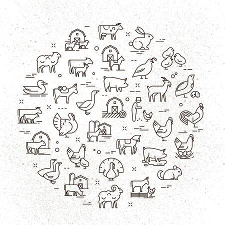 Grand jeu d'icônes vectorielles circulaires d'animaux ruraux dans un style linéaire pour les logos, les présentations et le web. Les icônes sont isolées sur fond de papier minable. Logo