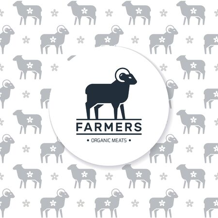 Logo of a farm or shop with a ram and a place for text on the background of a seamless pattern of farm animals. Stock Illustratie