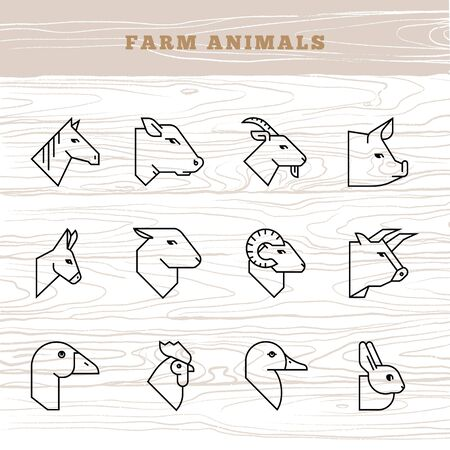 Concept of farm animals. Vector icon set in a linear style of farm animals silhouettes. Stock Illustratie