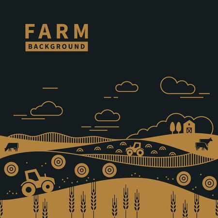 Vector illustration - horizontal seamless pattern family farm with a place for text and logo in two color. Text can also be removed.