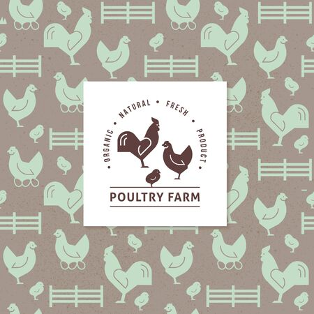 Seamless vector pattern of farm animals, buildings, equipment and other elements with a company farm logo with a hammer and a rooster, isolated on a white background. Consists of vector flat icons. Ilustração