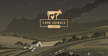 Vector logo of a family farm with text on the background of a vector illustration written by hand with a shape and mount in the background.