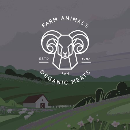 Vector logo of organic meat, farm, ecological farm with the image of a ram drawn in a linear style isolated on a background of a vector pattern of a farm and field. Stock Illustratie